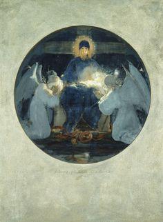 Mother of God, study 1898 - Nikolaos Gyzis, Greek Painter Greek Paintings, Moonlight Painting, I Believe In Angels, Byzantine Icons, Pre Raphaelite, 10 Picture, Greek Art, Art Database, Chiaroscuro