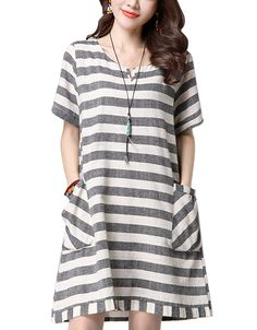 CDCLOTH Women's Summer Loose Striped Short Sleeve Cotton and Linen Dress >>> Check out the image by visiting the link. (This is an affiliate link) #CasualDress