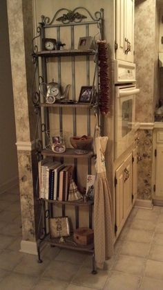 Exciting And Nice Corner Bakers Rack For Your Furniture Decor Idea: Iron Rustic Pine Corner Bakers Rack For Your Furniture Decor Idea Bakers Rack Decorating, Decorating Ideas, Decor Ideas, Cabinet Furniture, Furniture Decor, Bakers Rack Kitchen, Tan Walls, Rack Design, Iron Decor