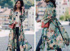 Free Gift + Vtg Sun Up Floral Print Cardigan Dress Kimono Blouse Bomber Jacket