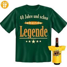 Geburtstags Set T-Shirt + Mini für die Flasche <-> 40 Jahre lebende Legende <-> Dunkelgrün, ein kleines lustiges Geschenk Goodman Design® (*Partner-Link)
