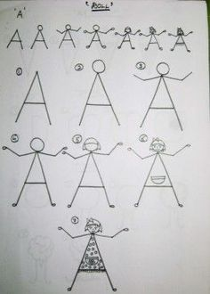 Easy to draw step by step tutorials for kids using shapes and alphabets.