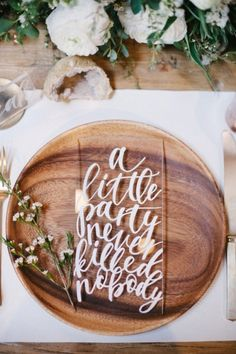 Wood and Acrylic Modern Place Setting | Michael Radford Photography - http://heyweddinglady.com/nearly-nude-rustic-glam-neutral-wedding-ideas/