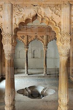 india, rajasthan, bharatpur, lohagarh fort, - a royal bath. India Architecture, Ancient Architecture, Beautiful Architecture, Architecture Details, Interior Architecture, Gothic Architecture, Amazing India, Rajasthan India, India India