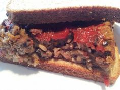 Meatloaf sandwiches were definitely part of my upbringing. This vegan hippie loaf will definitely satisfy the craving. Black beans, rice, mushrooms, and veggies Loaf Recipes, Whole Food Recipes, Vegan Recipes, Yummy Recipes, Free Recipes, Vegan Foods, Vegan Dishes, Vegan Meals, Healthy Dinners