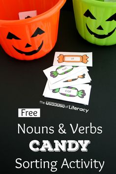 This nouns and verbs candy sorting activity is a perfect Halloween activity for…