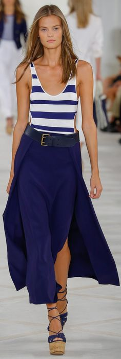 """NYFW Ralph Lauren Collection: """"My Women's Collection for Spring 2016 is a modern expression of the glamorous spirit of the French Riviera. It has a romantic rusticity, as well as a sleek and luxurious sportiness that represents to me both the cool insouciance and understated style of the women who inspire me."""" -- Ralph Lauren"""