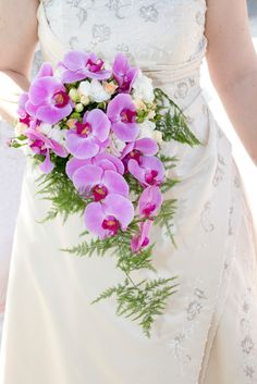orchid wedding bouquet purple orchids, white freesias, snowberries and asparagus ferns Maybe different color orchids White Orchid Bouquet, Orchid Bouquet Wedding, Cascading Wedding Bouquets, Blue Bouquet, Bride Bouquets, Floral Bouquets, Wedding Flowers, Wedding Beauty, Dream Wedding