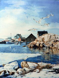 Peaceful Peggy's Cove in Winter by Hanne Lore Koehler ~ watercolor coastal