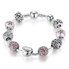 Cheap bracelet with, Buy Quality charm bangle directly from China silver charm bangle Suppliers: BAMOER Antique Silver Charm Bracelet & Bangle with Love and Flower Crystal Ball Women Wedding Valentine's Day Gift Bangle Bracelets With Charms, Silver Charm Bracelet, Silver Charms, Bracelet Set, Fashion Bracelets, Fashion Jewelry, Beaded Bracelets, Bangles, Fashion Fashion