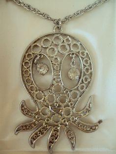 Vintage NOS Silver Tone Octopus Necklace