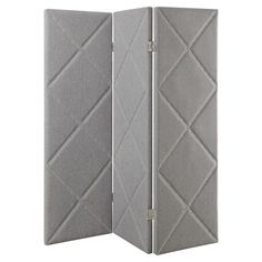 Covered with modern grey linen fabric, this lovely room divider features a diamond motif with silver nailhead trim.  Product: Ro...