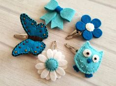 Wool Felt Blue hair clips set Blue Hair clips for girls Girl