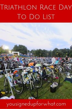 A triathlon race day to do list - tips for what to do from the moment you wake up until the race start!
