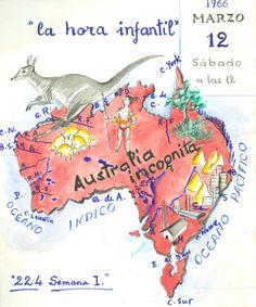 """Cartell il·lustrat, per informar de l'hora del conte programada pel dia 12 de març de 1965 en la biblioteca Pare Miquel d'Esplugues. El títol de la narració fou: """"Austràlia incògnita""""."""