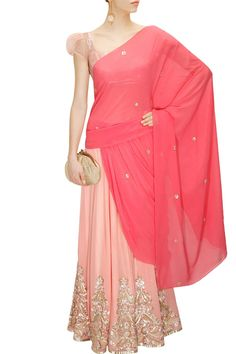 Light pink and candy pink pre draped sari with sequins sheeted blouse available only at Pernia's Pop-Up Shop.