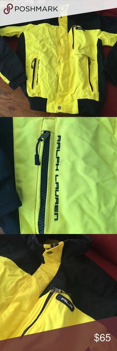 RLX Men's Zip Jacket Yellow & black zip up jacket men's size medium. Jacket has some stains. Will have to be dry cleaned before wearing. Great warm jacket. RLX by Ralph Lauren Ralph Lauren Jackets & Coats
