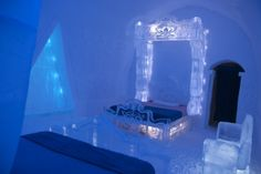 """OMG you guys! A """"Frozen"""" themed suite has just debuted at Quebec City's Ice Hotel! #travel #FamilyTravel"""