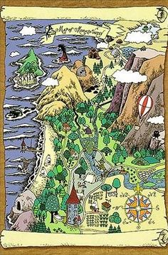 map of moominvalley. is a fictional place, where the Moomins live in the tales by Finnish author Tove Jansson.  Especially in the early books Moominvally is depicted as a beautiful place with green slopes, rivers, fruit trees, flowers and a place for calm and peaceful life as in the tradition of pastoral poetry, and yet it is still threatened by natural forces such as flooding and volcanoes.