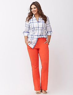 No need to borrow a shirt from your boyfriend's closet—this one's fit just for you. And in an irresistible, goes-with-anything plaid. Gently flared hem. Classic collar. Button-front closure. Double button cuffs. lanebryant.com