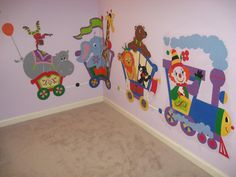 This 14' long circus train mural is bright and colorful - perfect for daycare centers, schools or your room.