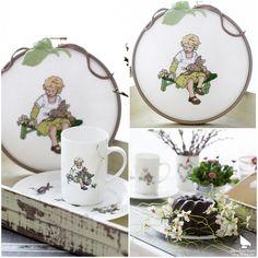 """Aus dem Buch """"Claras Geschichten"""" #acufactum #regnerischetage #gemütlich #sticken #kreuzstich #sommer #schön #tasse #hase #clara #rainydays #cozy #embroider #crossstitch #summer #pretty #cup #rabbit Cross Stitch Finishing, Cross Stitch Embroidery, Tea Cups, Tableware, Gentleness, Cross Stitch, Arts And Crafts, Crosses, Handarbeit"""