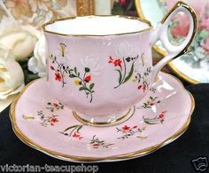 Rosina Tea Cup and Saucer Delicate Pink and Floral Teacup