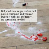Sugar on Spilled Nail Polish For Easy Removal