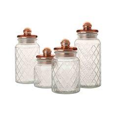 Casa Domani Trellis Storage Jar Copper Set of 4 Gift Boxed