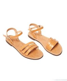Tan Leather Storge Ankle Wrap Sandal