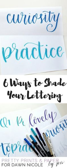 Creative Lettering: 6 Ways to Shade Your Lettering. Try these 6 ideas for how you can add some pop to your lettering with different shading techniques! Add color and creative style to your bullet journal, scrapbook, planner or project. Lettering Brush, Hand Lettering Fonts, Creative Lettering, Lettering Styles, Lettering Ideas, Script Fonts, Calligraphy Letters, Typography Letters, Learn Calligraphy