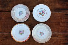 Vintage floral bread/ dessert  plates with golden rims and accents. Otis + Pearl Vintage Rentals.