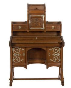 AN AMERICAN NICKEL-PLATED WALNUT DESK, ATTRIBUTED TO KIMBEL AND CABUS, LATE 19TH CENTURY.