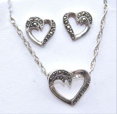 Sterling Silver & Marcasite Heart Pendant Necklace & Marching Earrings Set