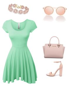 """""""Mint style"""" by ivonnediaz on Polyvore featuring LE3NO, Steve Madden, Michael Kors y BaubleBar"""