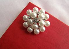 Pearl Brooch EMBELLISHMENT Jewelry Supply DIY by rosebankgarden, $8.50