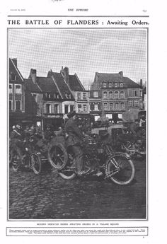 1917 ANTIQUE PRINT - WW1- BATTLE OF FLANDERS-AWAITING ORDERS, MOTOR CYCLES | eBay