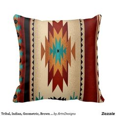 Tribal, Indian, Geometric, Brown Hue Pillows