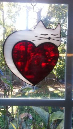 White Cat on a heart Stained glass suncatcher by AnnersGlassShack