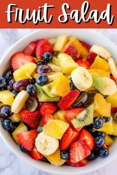 This delicious fruit salad recipe from Tornadough Alli is full of all the delicious fruit you can imagine, and everything is covered with a sweet citrus and honey glaze that brings it all together. You can add blueberries, oranges, strawberries, kiwi, bananas, and grapes, and everything tastes amazing together. This fruit salad is perfect for taking along to a potluck or party, or serve as a side dish with dinner! Best Dessert Recipes, Fun Desserts, Sweets Recipes, Dessert Ideas, Fruit Cobbler, Fruit Salad Recipes, Party Food And Drinks, Delicious Fruit, Delicious Recipes
