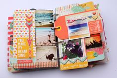 Use small tags to include pictures or journaling between pages.