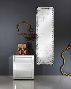 A large frameless full length wall mirror with an unusual decorative contemporary distressed finish, for hallways, living rooms, bedrooms and bathrooms. Decor, Contemporary, Contemporary Mirror, Wall, Living Room Mirrors, Hall Mirrors, Glass Wall, Mirror Wall, Distressed Walls