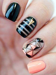 Nueva decoración de uñas, estilo 2016. Uñas geométricas!!! Espero q os guste, un besoo ••