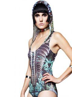 "Women's ""Sublimated"" Bodysuit by Lip Service Clothing (Ivory Green) #InkedShop #bodysuit #womenswear #hooded"