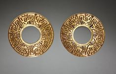 Pair of Ear Ornaments, c. 500-200 BC Peru, North Highlands, Chavín de Huantar(?), Chavín Style (1000-200 BC)