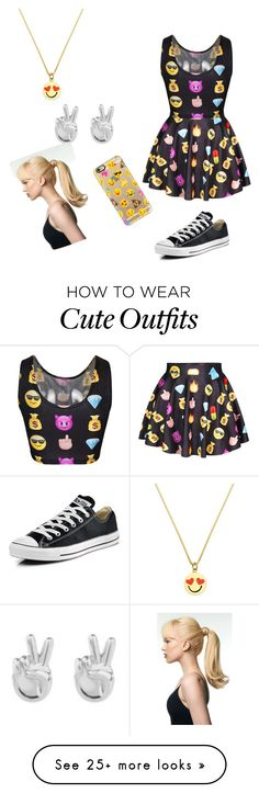 """""""emoji outfit"""" by puppies-girl on Polyvore featuring Kate Spade, Rock 'N Rose, Casetify and Converse"""