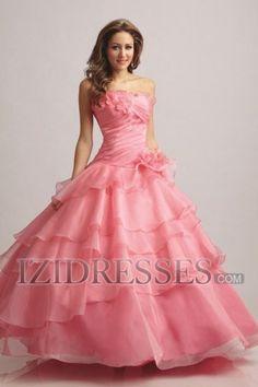 Ball Gown Strapless Organza Quinceanera Dress - IZIDRESSES.COM