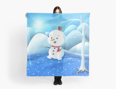 'Snowbaby on Sparkling Ice' Scarf by We ~ Ivy Presents For Friends, Makeup Pouch, My Themes, Website Themes, Good Cause, Sparkling Ice, School Bags, Ivy, Snowman