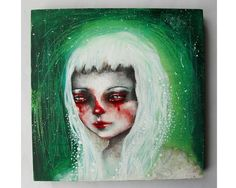 Hey, I found this really awesome Etsy listing at https://www.etsy.com/listing/460212118/original-girl-painting-mixed-media-art