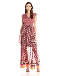 Taylor Dresses Womens V Neck Wrap Long Jersey Maxi Wth Chiffon Skirt PoppyTang 10 *** More info could be found at the image url.